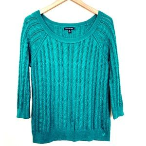 AE Green Cable Knit Long Sleeve Sweater Size M